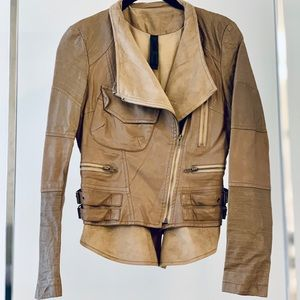 COMME PREMIUM Taupe Faux Leather/Suede Jacket